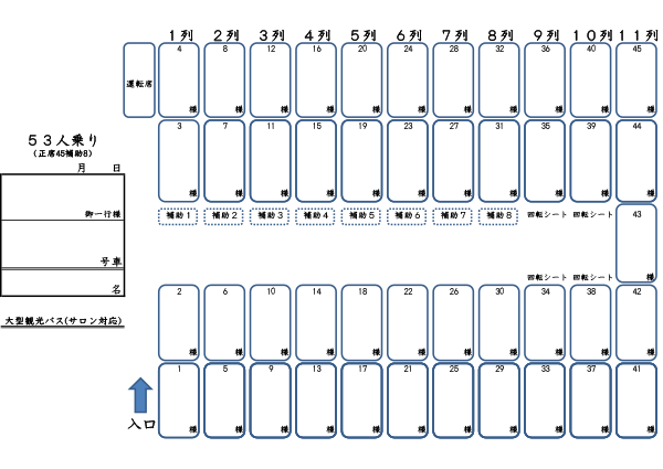 Seating chart45 people + 8 seater